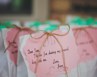 Party favor sack tags and bags