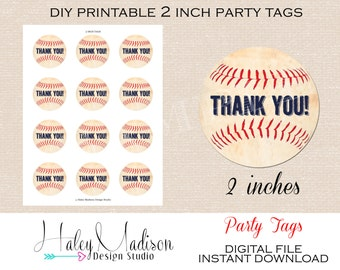 Baseball Thank you tags, favor tags, INSTANT DOWNLOAD