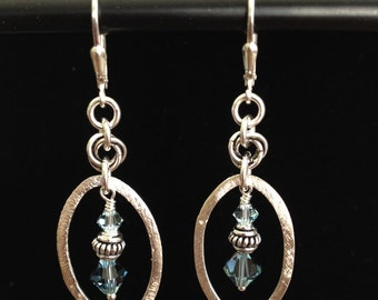 Sterling Silver, Blue Swarovski Crystal Earrings (E23)