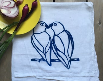 Love Birds Silkscreened Tea Towel Cotton Flour Sack  - Art Kitchen - 28x29 inches