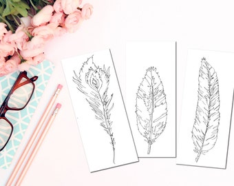 Coloring Card Set - Coloring Cards - Feather Coloring Cards