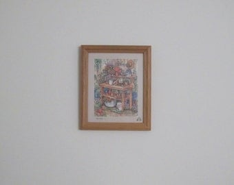 Vintage 1980s to 1990s Debra Jordan Bryan Country Cottage Garden Potting Table Print Framed in Wood Frame Ready for Your Wall Great Gift
