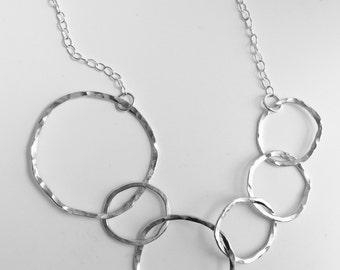 Multi-Hoop Statement Necklace, Silver Hoop Necklace