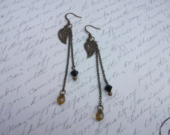 Long antique brass / bronze chain earrings with leaf charm and crystals
