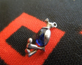 Sterling Duck Charm With Gem Set Belly Duck Wearing Boots Vintage European Sterling Silver Charm for Bracelet from Charmhuntress 03267