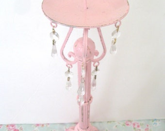 """Tall 15"""" Shabby Chic Pale Pink Pillar Candle Holder Ornate Metal Prisms Chippy Distressed Paris Cottage Victorian"""