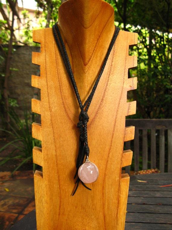 Black Leather and Rose Quartz Necklace