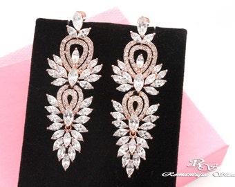 Bridal earrings ROSE GOLD Wedding earrings CZ Swarovski Crystal earrings Cubic zirconia earring zircon Bridal jewelry Wedding jewelry 2177RG