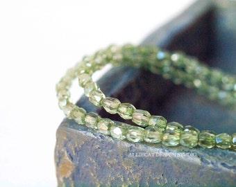PREMIUM 50 Mix of Green 3mm Firepolish Czech Glass Beads (N108)