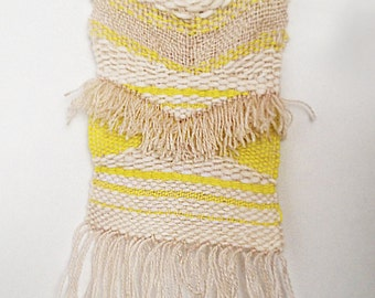 Beige, off-white, fluorescent yellow / wall hanging - weaving - tapestry / textile art