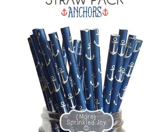 ANCHOR Paper Straws, Party Decor, Cake Pops, Nautical, Navy, Sea, Beach, Anchors, Shower, Birthday Baby Shower, Bridal, Wedding