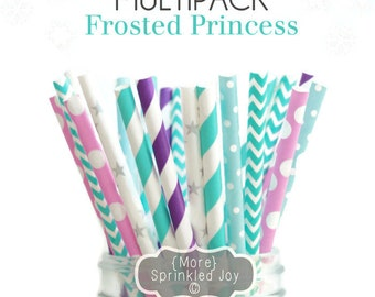 FROSTED PRINCESS Multipack, Blue, Teal, Silver, Pink, Ice, 25 Straws, in 5 Designs