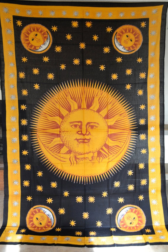 Yellow and Black Sun & Moon Tapestry Wall by FestivalTreasures