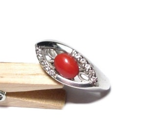 Silver ring coral vintage ring, sterling silver, coral 57, US size 8.0 UK size P 1/2 rings silver