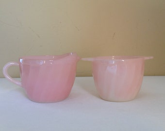 Vintage Fire King Pink Sugar and Creamer Set  milk glass with a swirl design