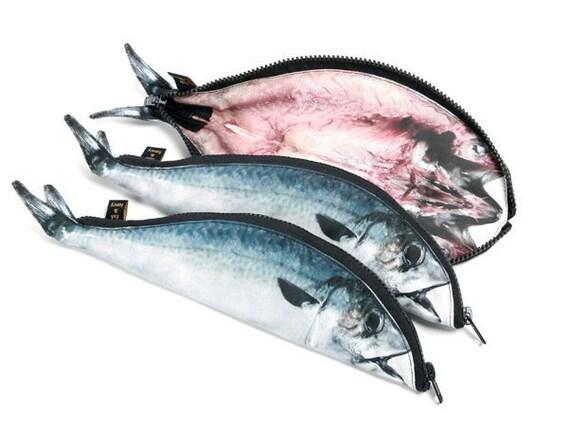 Mackerel pen pouch fish pouch pen pencil case zipper for Realistic fish pencil case