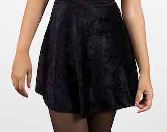 90s Crushed Velvet High Waist Skater Skirt (4 COLORS, Made to Order)