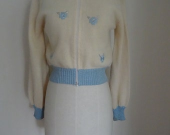 70's Sweater Zip Front Applique Retro Embroidery Sweater