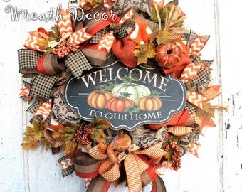 Fall Wreath, Autumn Decor, Jute Mesh Wreath, Orange Burlap, Welcome to Our Home