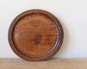 Antique Wooden Plate 18th or 19th Century Treenware Treen Primitive Platter Old Repair - wood