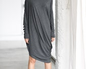 Gray Drape Dress/ Loose Casual Gray Tunic/ Drape Top/ Long Sleeves Tunic Top by Arya Sense/ DFRD14NG