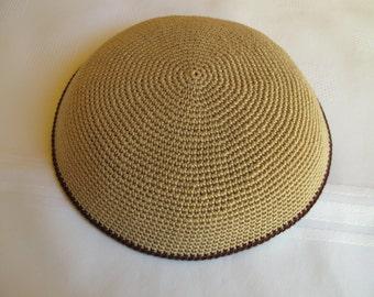 Beige Kippah. Handmade Crochet Kippah. Hand knitting Yarmulke. Beige Yarn of Cotton with a brown line at the edge.