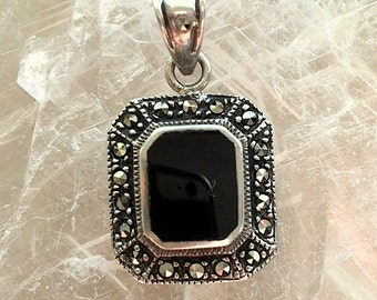 Vintage Marcasite and Black Onyx Pendant orNecklace