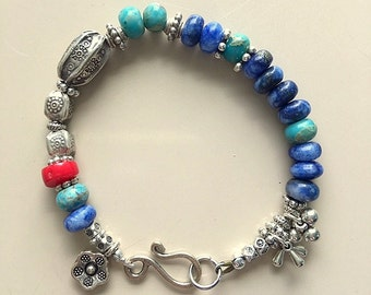 Blue Sodalite, Turquoise, Red Coral and Hill Tribe Fine .999 and Tibetan Silver Bracelet