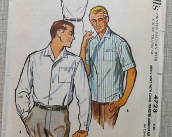 "Men's Shirt with Shoulder Yoke & Side Vents Size Medium Neck 15 to 15-1/2"" Vintage 1950s McCall's Sewing Pattern 4723 Complete with Transfer"