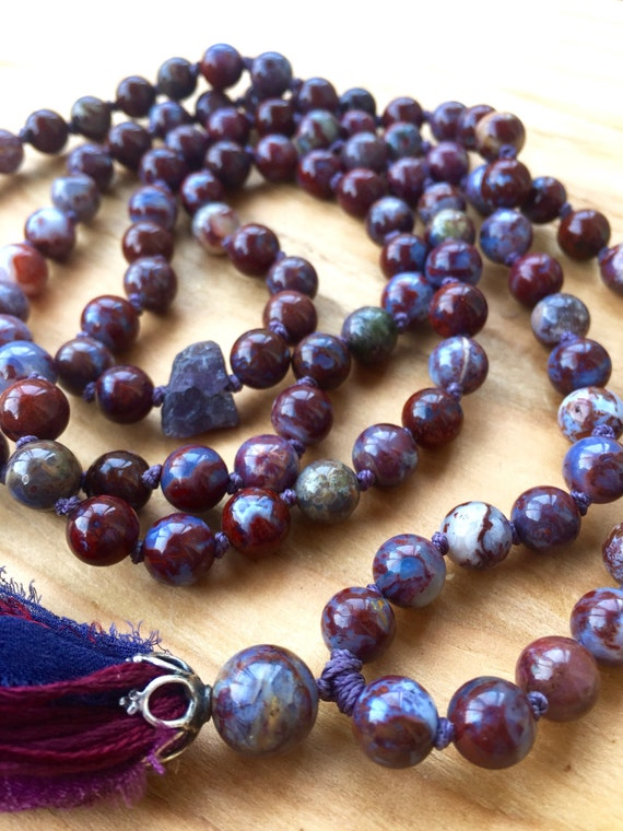 Root Chakra Mala Beads Red Lightning Agate , Raw Tanzanite Pietersite Fire Agate, Courage,  Anti Depressant, Stress Relief