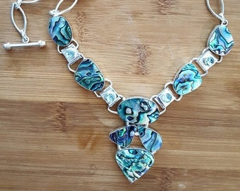 Sterling Silver, Necklace, ABALONE, Blue TOPAZ, Jewelry, Womens, Sterling Silver, Abalone Necklace, Y Necklace, Statement Jewelry, NEW!!!