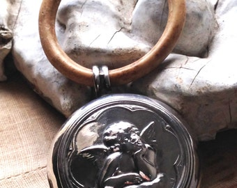 1800s antique French sterling silver baby rattle ~ repoussé winged cherub angel