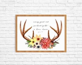 Bible verse, rustic antler flowers Nursery Art, Childrens Room Art. giclee fine art print decor baby shower mother's day gift decor birthday