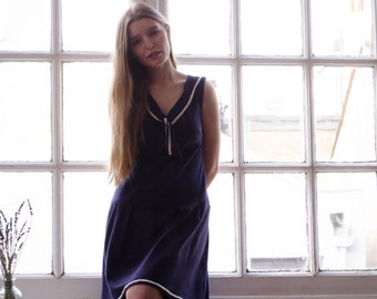 Navy Sailor Dress in Organic Cotton