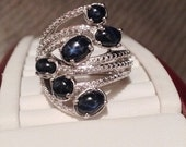 ON SALE - Blue Star Sapphire Cabochon Ring - Sterling Silver Size 7