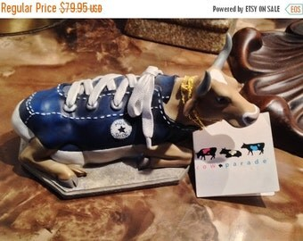ON SALE - Moo Shoe Blue Converse Cow Ceramic Figurine - Cow Parade Item# 9125 RETIRED 1/0363 Low Number