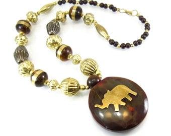 Vintage Elephant Perfume Necklace, Tribal, Gold Tone Beads