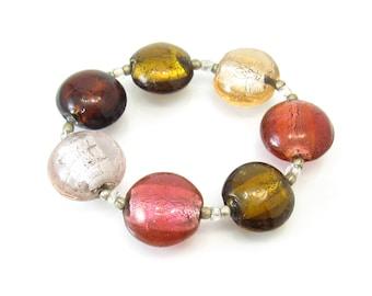 Vintage Glass Bead Bracelet, Stretch