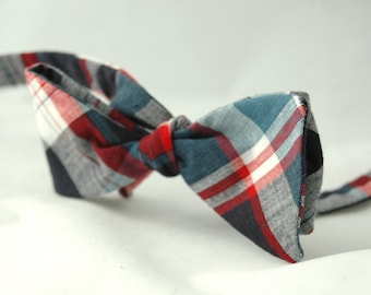 Men's Bow Tie – Red, White and Blue Plaid Americana Cotton Bowtie