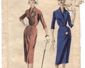 Vintage 1950s Butterick #7938 Slim Tailored Dress, Side Buttoned Skirt, Lapel-Like Collar, Cuffed Sleeves, UNCUT FF, Size 14, Bust 34