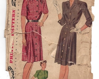 1940s Simplicity #4866 Womens Front Button Down Dress, Bust 44