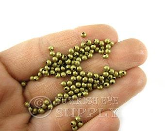 100 Raw Brass 3mm Ball Spacer Beads, Solid Brass Beads, Raw Brass Beads, Raw Brass Findings