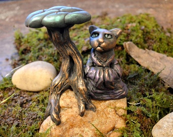 Meditating Cat and Tree Sculpture One of a Kind Artist Signed Sculpted On a Natural Stone 5 Inches Tall Desktop Art Home & Garden Terrarium
