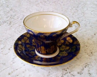 Aynsley Cobalt Blue & Gold Fine Bone China Corset Tea Cup and Saucer - Made in England