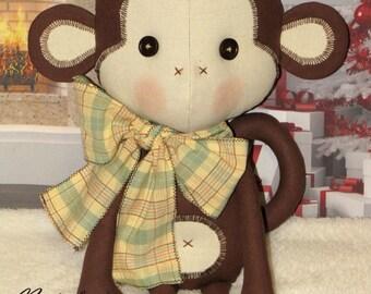 Monkey toy. Fabric toy. Cloth toy. Handmade toy. Stuffed toy. Soft toy. Animal toy.