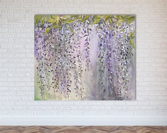 "Abstract Painting Wisteria Flowers Acrylic Art // ""Eden"" 30 x 36"" Canvas"