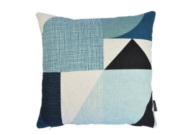 Swedish Nordic Scandinavian Geometric contemporary modern fabric cushion cover - Nemo BLUE
