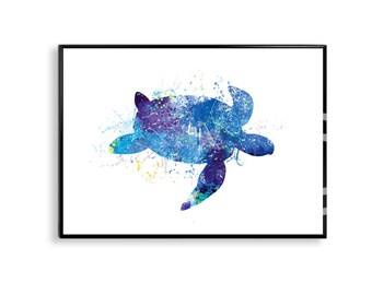 Sea turtle poster, Sea turtle print, water-colour poster blue turtle decor sea turtle art watercolor print watercolor poster wall decor WT10