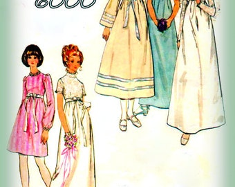 Vintage 1970s  Sewing Pattern Misses' Hippie Or Boho Butterick 6000 Bridesmaids Or Wedding Dress