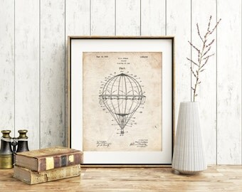 Hot Air Balloon 1923 Patent Poster, Circus Print, Hot Air Balloon Nursery, Carnival Art, Vintage Nursery Decor, Around the World, PP0036